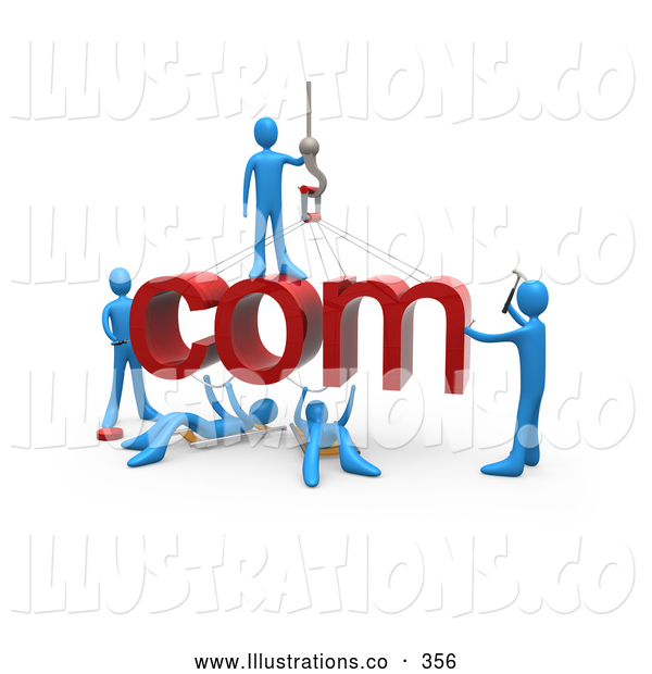 Royalty Free Stock Illustration of a Team of Blue People Constructing the Internet Word Com, Symbolizing a Website Under Construction