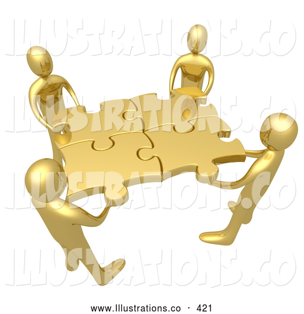 Royalty Free Stock Illustration of a Team of Four Friendly Golden People Holding up Connected Pieces to a Gold Puzzle, Symbolizing Excellent Teamwork, Success and Link Exchanging