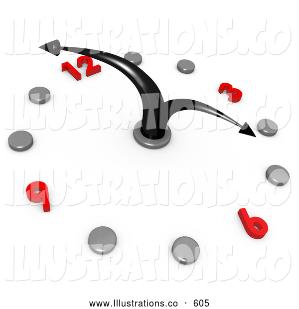 Royalty Free Stock Illustration of a Timely White Office Wall Clock with Black Hands Pointing at 4pm, Silver Hour Dots and Red Numbers