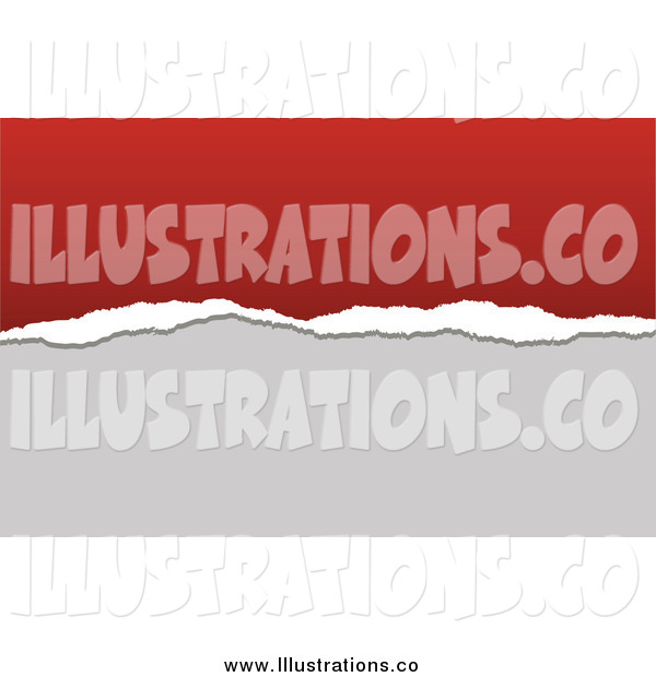 Royalty Free Stock Illustration of a Torn Paper Business Card Background with Red and Gray Copyspace
