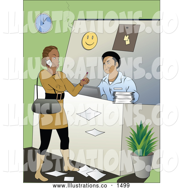 Royalty Free Stock Illustration of a Upsetting Rude Female Customer Talking on Her Cell Phone and Holding up a Finger While Making a Customer Service Man Wait to Assist Her