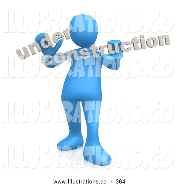 Royalty Free Stock Illustration of a Web Developer Blue Person Holding Text Reading Under Construction