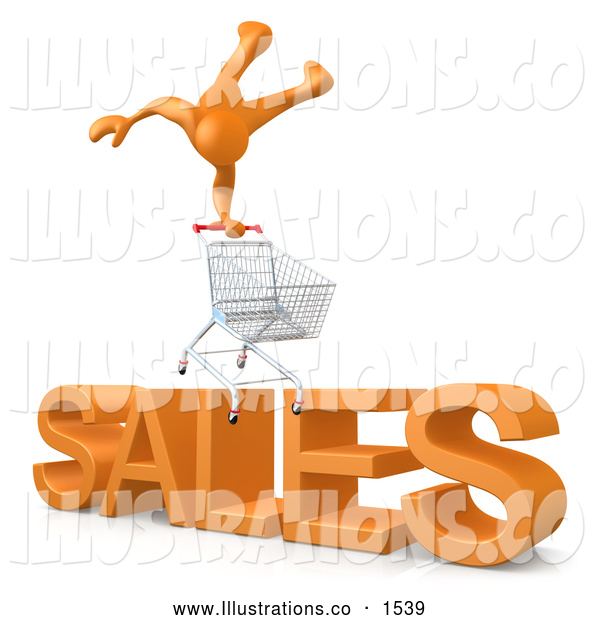 "Royalty Free Stock Illustration of a Website Shopping Cart over Big Orange Text Reading ""SALES"""