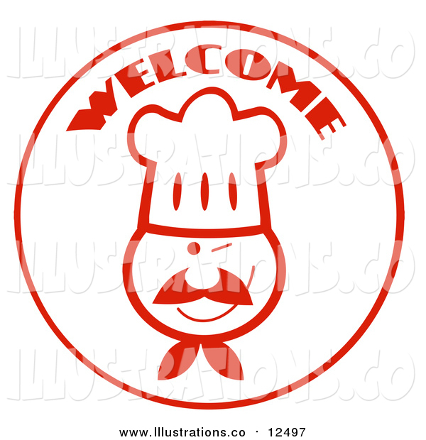 Royalty Free Stock Illustration of a Welcome Chef Face Circle