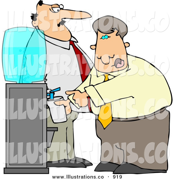 Royalty Free Stock Illustration of a White Boss Keeping a Close Eye on an Employee Filling His Cup with Water