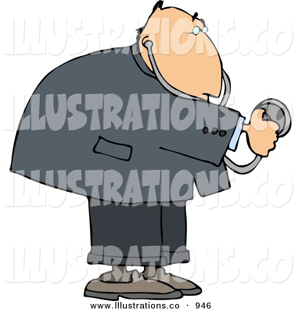 Royalty Free Stock Illustration of a White Heart Doctor Man Using a Stethoscope