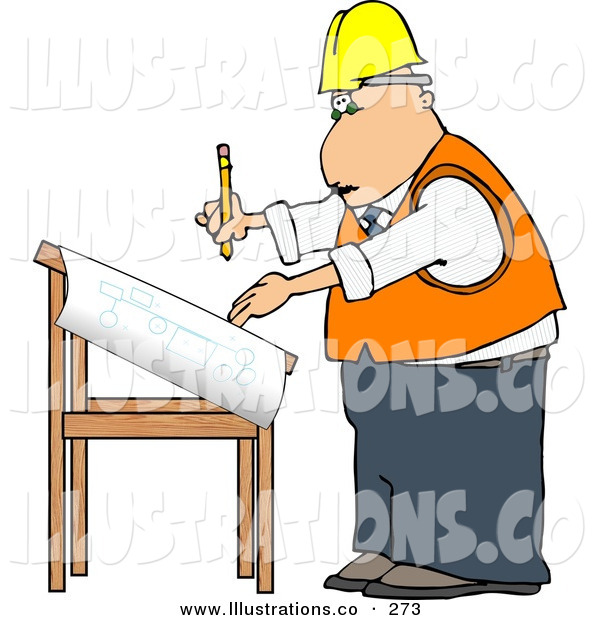 Royalty Free Stock Illustration of a White Male Architectural Engineer Writing on a Blueprint with a PencilWhite Male Architectural Engineer Writing on a Blueprint with a Pencil