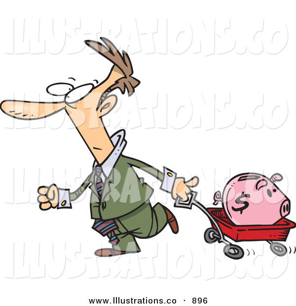 Royalty Free Stock Illustration of a White Man Pulling a Piggy Bank in a Wagon