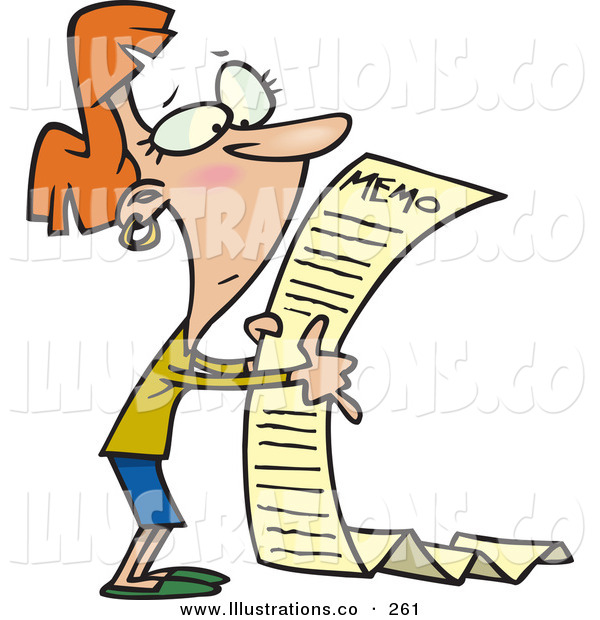 Royalty Free Stock Illustration of a Woman Reading a Very Long Memorandum Note on White