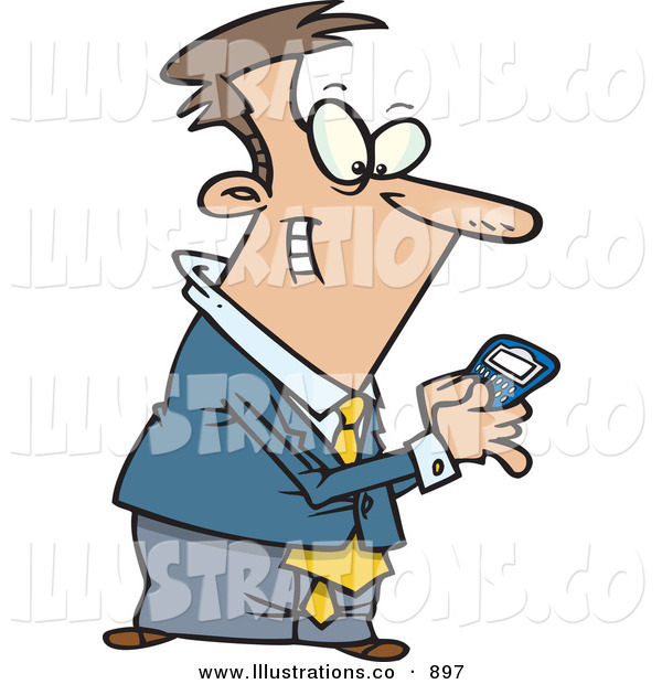 Royalty Free Stock Illustration of ACheerful Man Using a BlackBerry Wireless Handheld Device to Send Text Messages