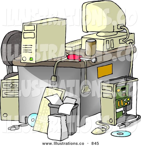 Royalty Free Stock Illustration of AMessy Computer Desk in an Office