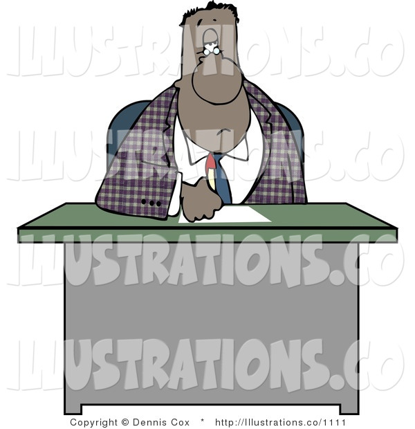 Royalty Free Stock Illustration of an African American Businessman Writing on Papers at His Office Desk