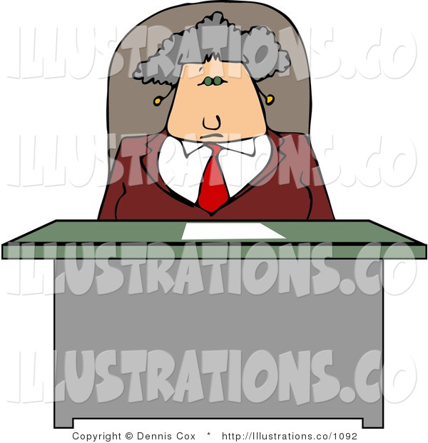Royalty Free Stock Illustration of an Elderly Business Woman Sitting Behind Her Desk