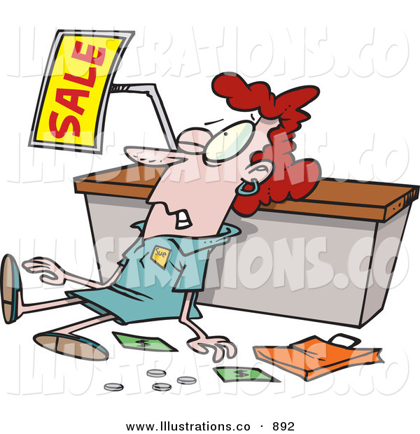 Royalty Free Stock Illustration of an Employee Trampled During a Sale, Beat down