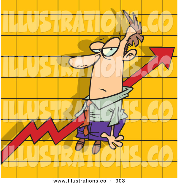 Royalty Free Stock Illustration of an Increasing Profit Arrow on a Graph Chart, Going Right Through a Man