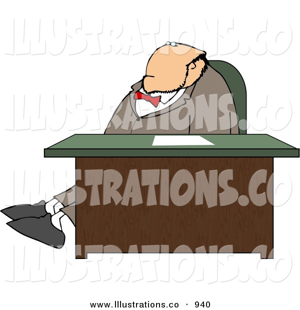 Royalty Free Stock Illustration of an Obese White Businessman Stretching Legs Behind Office Desk