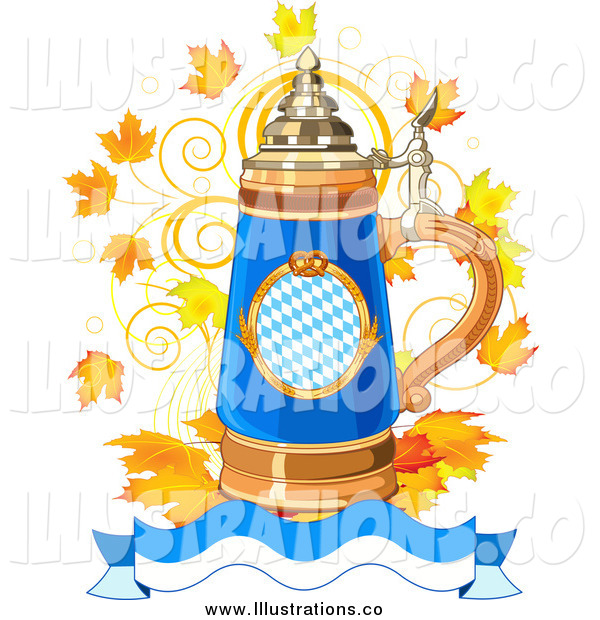 Royalty Free Stock Illustration of an Oktoberfest Beer Stein with Autumn Leaves and a Banner
