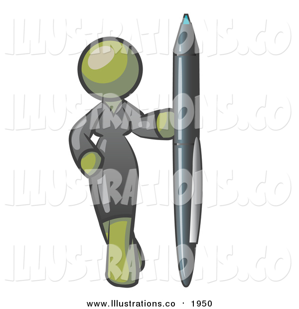 Royalty Free Stock Illustration of an Olive Green Business Woman in a Gray Dress, Standing with One Hand on Her Hip, Holding a Huge Pen
