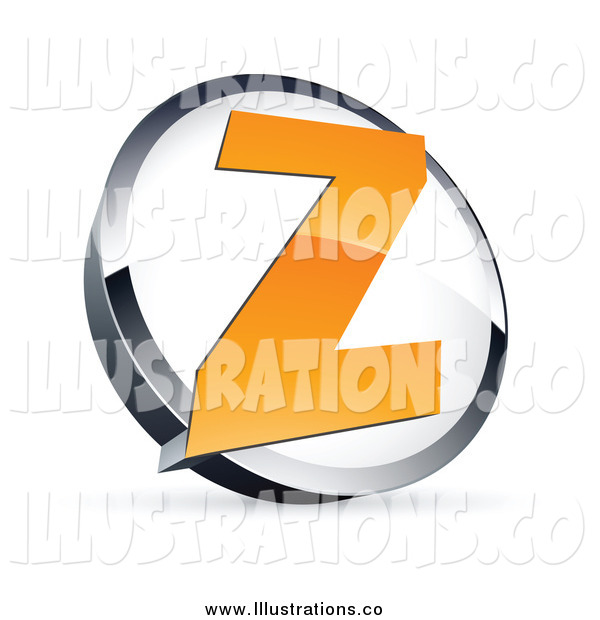 Royalty Free Stock Illustration of an Orange Letter Z in a White and Chrome Circle