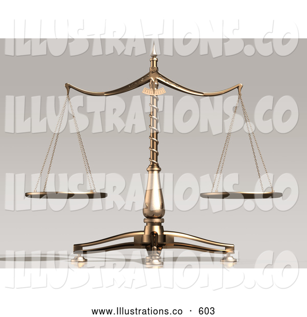 Royalty Free Stock Illustration of Balanced and Unbiased Brass Justice Scales Weighing out Evenly