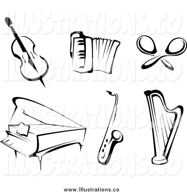 Royalty Free Stock Illustration of Black and White Instruments