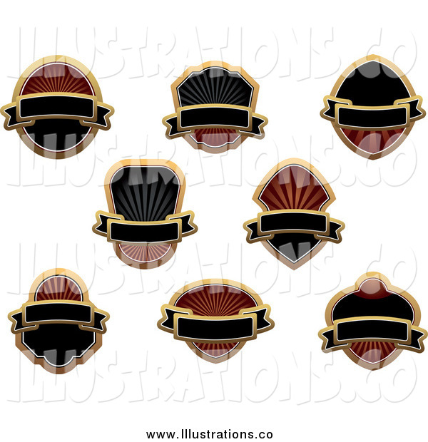 Royalty Free Stock Illustration of Blank Gold and Black Labels