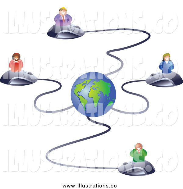 Royalty Free Stock Illustration of Business People on Computer Mice Connected to a Globe