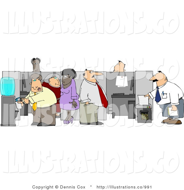 Royalty Free Stock Illustration of Caucasian and African American Office Worker Employees Doing Their Daily Routine