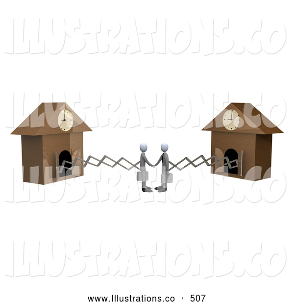 Royalty Free Stock Illustration of Cuckoo Businessmen Making a Deal