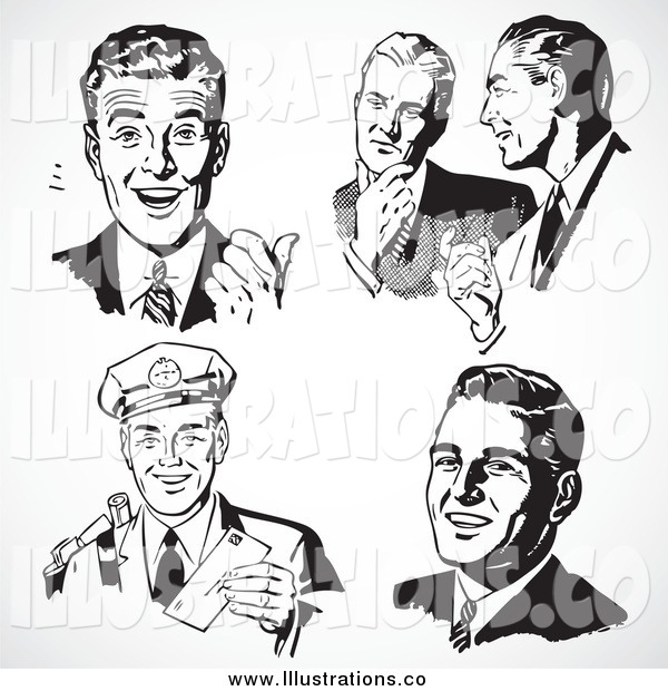 Royalty Free Stock Illustration of Five Black and White Retro Business Men with Different Expressions
