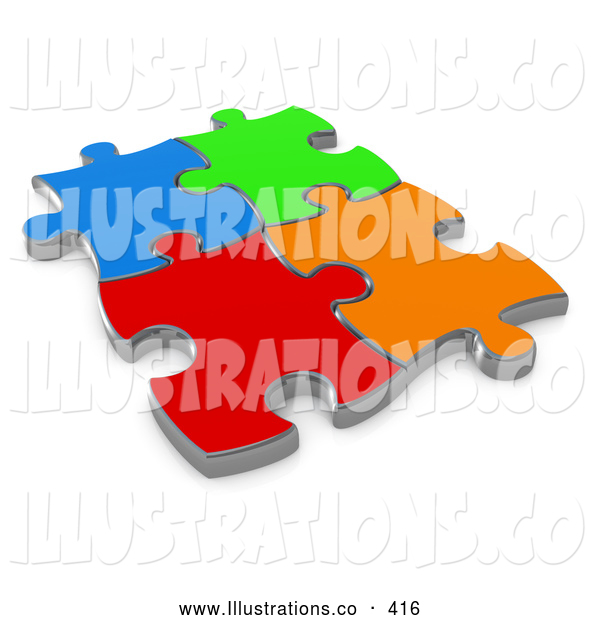 Royalty Free Stock Illustration of Four Bright Different Colored Puzzle Pieces Connected over a White Background, Symbolizing Interlinking for Seo Website Marketing, Teamwork and Diversity