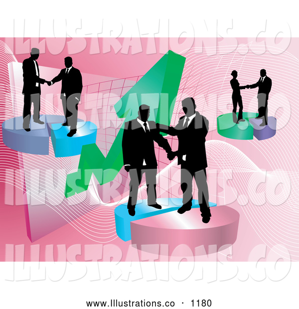 Royalty Free Stock Illustration of Groups of Professional Businessmen Shaking Hands on Deals on Pie Charts, Increasing Revenue for the Company