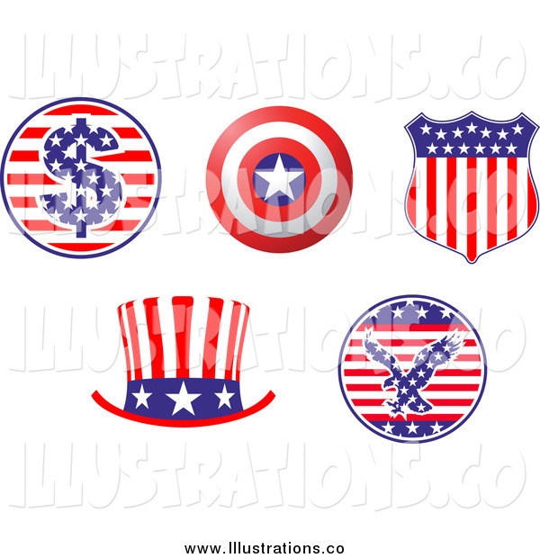 Royalty Free Stock Illustration of Patriotic American Hat and Shield Design Elements