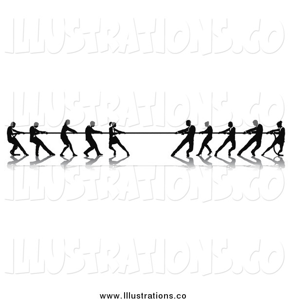 Royalty Free Stock Illustration of Silhouetted Tug of War Business Teams in Action