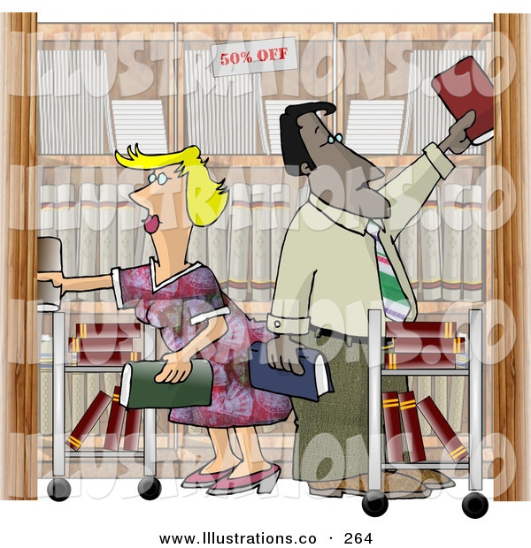 Royalty Free Stock Illustration of Two Busy Employees, Man and Woman, Restocking Shelves at a Bookstore