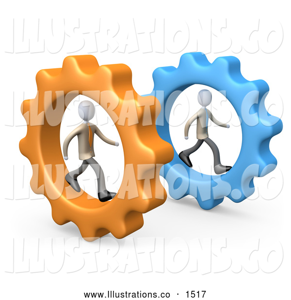 Royalty Free Stock Illustration of Two Imaginative Businessmen in Cogs, Racing Eachother, Symbolizing Competition