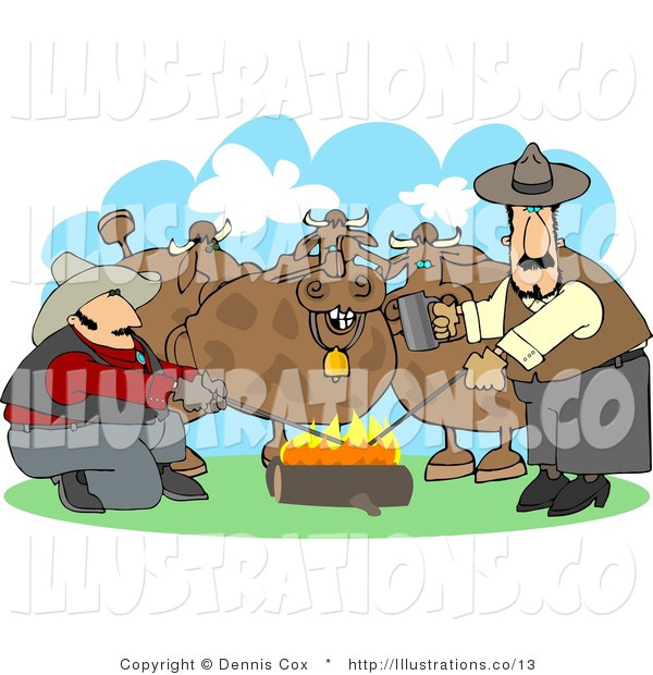 Royalty Free Stock Illustration of Two Male Ranchers Heating Branding Irons over a Campfire Beside Their Onlooking Cattle