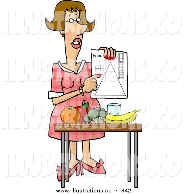 Royalty Free Stock IllustrationHelpful Female Dietitian Teaching the Public About Food and Nutrition