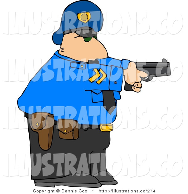 Royalty Free Stock Illustrationof an Alert White Policeman Pointing His Pistol at a Criminal