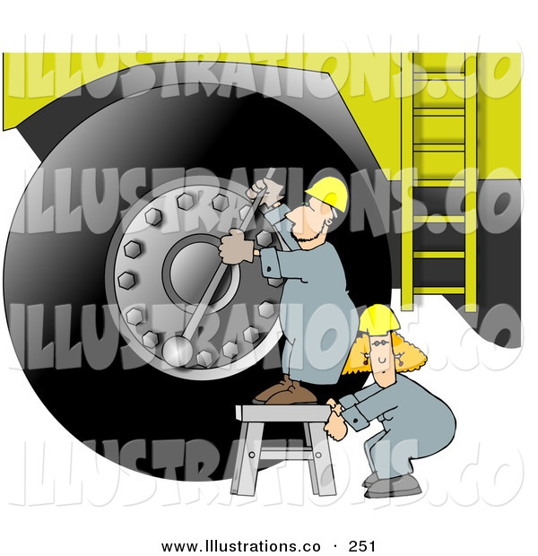 Stock Illustration of a Repairman Putting a New Tire on a Giant Truck