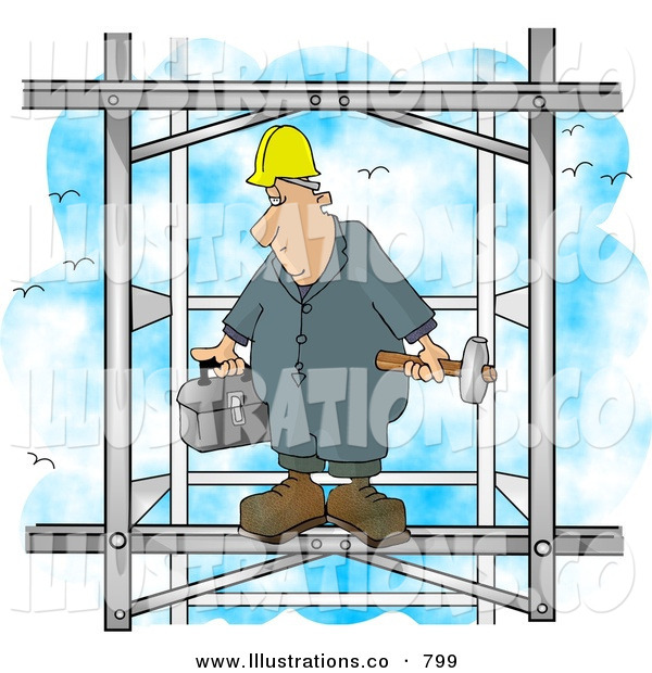 Stock Illustration of a Tired Male Construction Worker Putting Together the Iron Structure of a Building