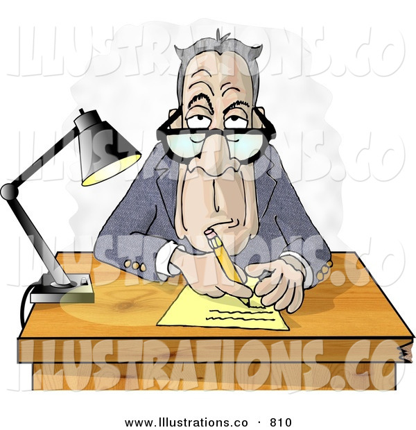 Stock Illustration of AGrumpy Old Businessman Interviewing the Viewer for a Job