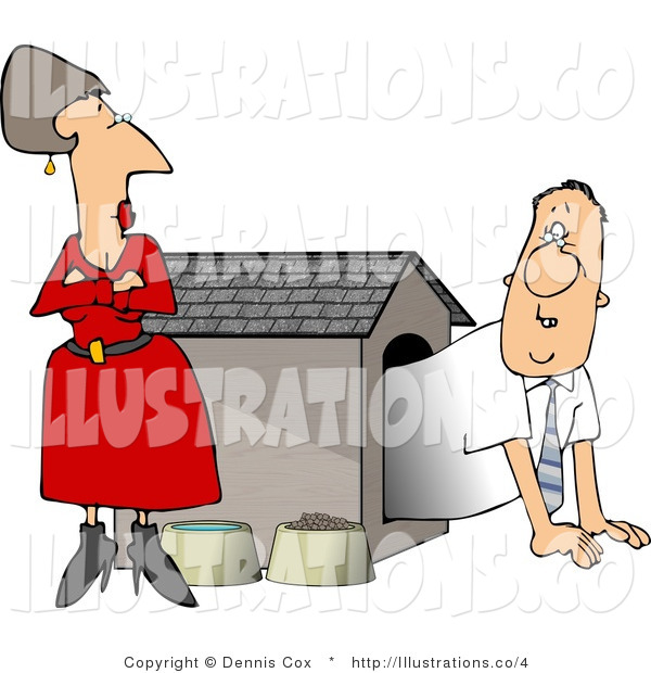 Stock Illustration Wife Watching Husband Crawl out of the Doghouse Tentatively