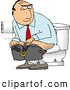 Illustration of a Businessman Going Poop in a Public Toilet or His Office by Djart