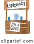 Illustration of a Funny Wooden Lemonade Stand Operated by Children by Djart