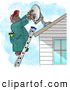 Illustration of an African American Man Installing a Household Satellite Dish on the Roof by Djart