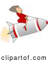 Royalty Free Illustration of a White Successful Businesswoman Riding a Rocket by Djart