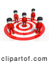 Royalty Free Stock Illustration of a 3d Group of People Standing on a Target by Tonis Pan