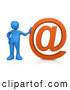 Royalty Free Stock Illustration of a Blue Person Leaning Against a Giant Orange Email at Symbol by 3poD