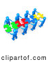 "Royalty Free Stock Illustration of a Bright Team of 8 Blue People Holding up Connected Pieces to a Colorful Puzzle That Spells out ""Team,"" Symbolizing Excellent Teamwork, Success and Link Exchanging by 3poD"